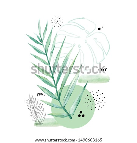 Abstract poster background minimal shapes, watercolor tropical leaf. Art print with doodles, line, texture. Tropical illustration for minimalism, hipster, scandinavian design, template, t-shirt print
