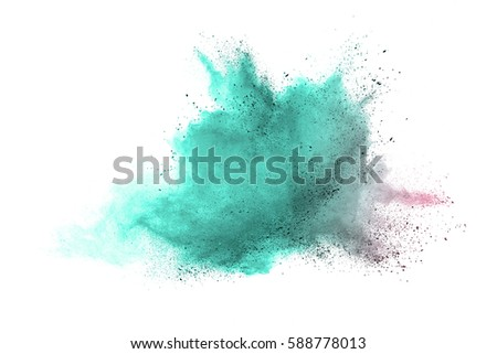 abstract powder splatted background. Colorful powder explosion on white background. Colored cloud. Colorful dust explode. Paint Holi. #588778013