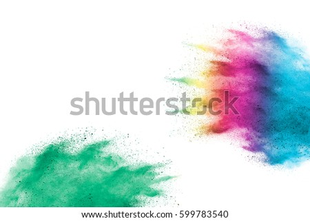 abstract powder splatted background. Colorful powder explosion on white background. Colored cloud. Colorful dust explode. Paint Holi. - Shutterstock ID 599783540