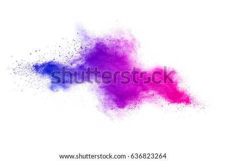 abstract powder splatted background. Colorful powder explosion on white background. Colored cloud. Colorful dust explode. Paint Holi. - Shutterstock ID 636823264
