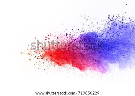 abstract powder splatted background. Colorful powder explosion on white background. Colored cloud. Colorful dust explode. Paint Holi. - Shutterstock ID 719850229
