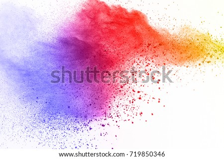 abstract powder splatted background. Colorful powder explosion on white background. Colored cloud. Colorful dust explode. Paint Holi. #719850346