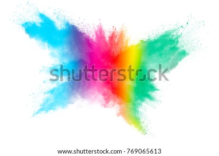 abstract powder splatted background. Colorful powder explosion on white background. Colored cloud. Colorful dust explode. Paint Holi. - Shutterstock ID 769065613