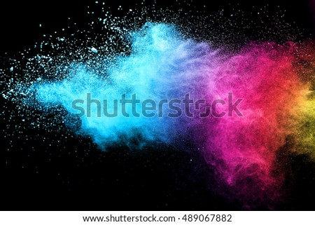 abstract powder splatted background,Freeze motion of color powder exploding/throwing color powder, multicolor glitter texture - Shutterstock ID 489067882