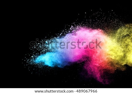 abstract powder splatted background,Freeze motion of color powder exploding/throwing color powder, multicolor glitter texture - Shutterstock ID 489067966