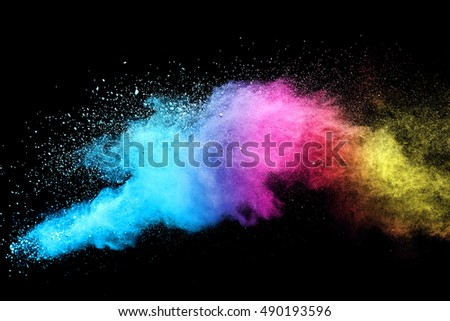 abstract powder splatted background,Freeze motion of color powder exploding/throwing color powder,color glitter texture on black background - Shutterstock ID 490193596