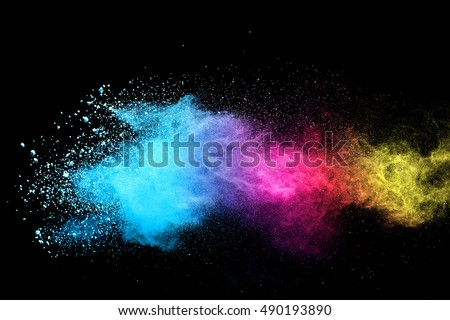 abstract powder splatted background,Freeze motion of color powder exploding/throwing color powder,color glitter texture on black background - Shutterstock ID 490193890