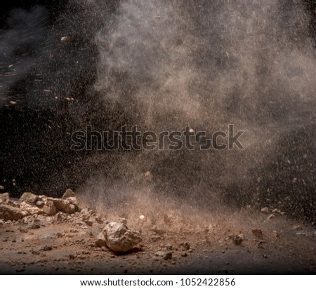 abstract powder splatted background, Freeze motion of earth dust exploding texture