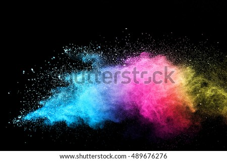 abstract powder splatted background,Freeze motion of white powder exploding/throwing white powder - Shutterstock ID 489676276