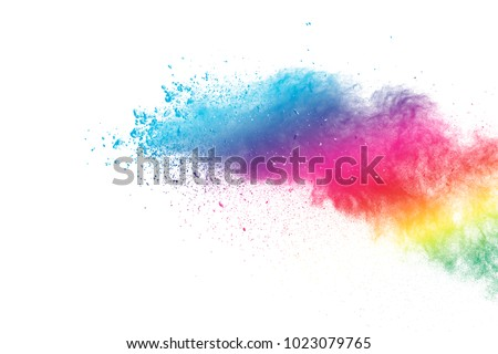abstract powder splatted background. Multi-color powder explosion on white background. Colored cloud. Colorful dust explode. Paint Holi. - Shutterstock ID 1023079765