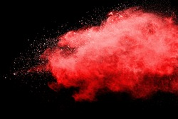 abstract powder splatted background. Pink powder explosion on black background. Colored cloud. Colorful dust explode. Paint Holi.