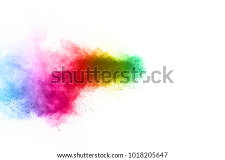 abstract powder splatted on white background,Freeze motion of color powder exploding/throwing color powder, multicolored glitter texture. - Shutterstock ID 1018205647