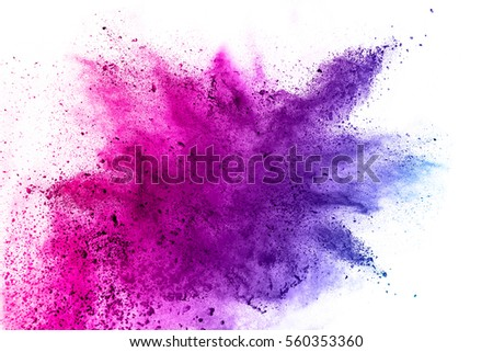 abstract powder splatted on white background,Freeze motion of color powder exploding/throwing color powder, multicolored glitter texture. - Shutterstock ID 560353360