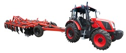 Abstract powerful new farm tractor with agricultural equipment isolated over white background