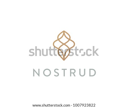 Abstract premium linear logotype. Motion wave flow logo symbol.