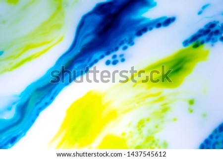 Abstract Primary Color Ink Splats Splotches of bright color on a white background. Scientific, artistic look. Spreading color movement. Microscopic look.