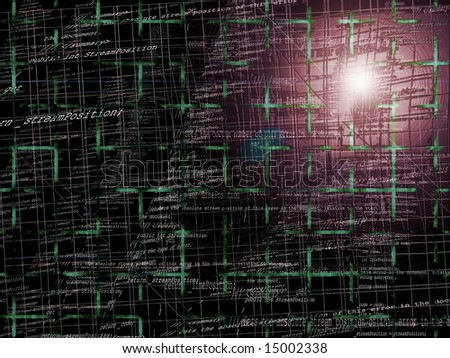 Abstract Programming Code Background Pattern With Grid