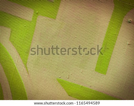 Abstract psychedelic oil painted tan, olive and dark olive green geometric shapes on canvas. #1165494589