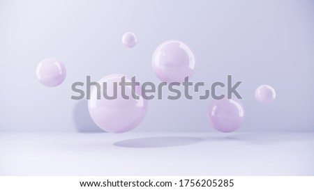 Abstract purple balls for party, festival, celebration. Group of balls, bubbles on pastel  background. Digital, trend banner with conceptual composition with copy space - 3D, render, graphic design. stock photo