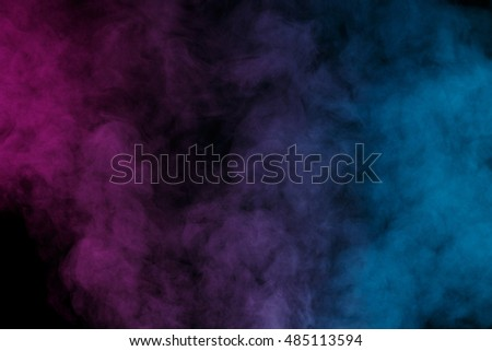 Abstract purple blue water vapor on a black background. Texture. Design elements. Abstract art. Steam the humidifier. Macro shot. - Shutterstock ID 485113594