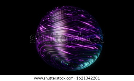 Abstract purple planet covered by beautiful shining threadlike bended lines isolated on black background. Animation. Amazing space body rotating and glowing, seamless loop. stock photo
