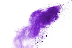 Abstract purple powder explosion on white background. abstract colored powder splatted, Freeze motion of colorful powder exploding.