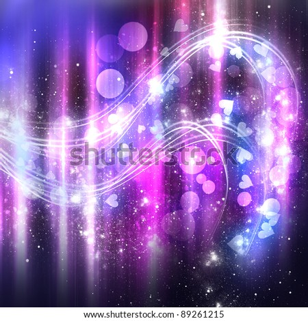 Abstract purple shine background with stars and heartsPurple Hearts And Stars Background