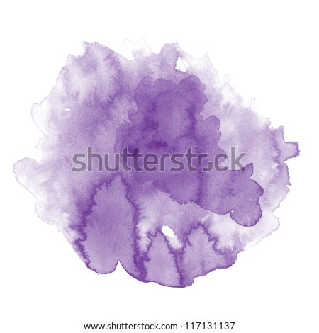 Abstract purple water color art background hand paint on white background