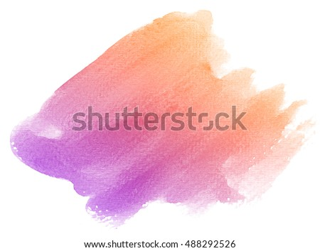 Abstract purple watercolor on white background.The color splashing in the paper.It is a hand drawn.