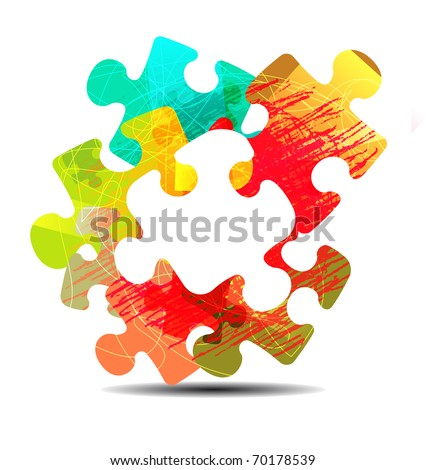 abstract puzzle shape colorful design. Raster version
