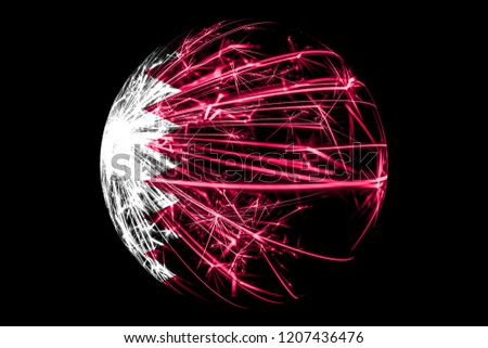 Abstract Qatar sparkling flag, Christmas ball concept isolated on black background