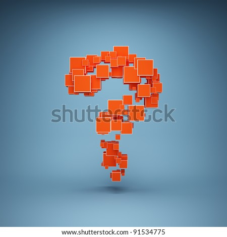 Abstract question mark made of cubes
