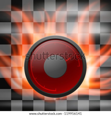 Abstract racing checkered background with speedometer in flame. Raster version of the loaded vector.