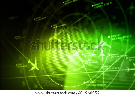 Abstract radar with targets in action - 3D Rendering