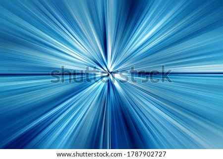 Abstract radial zoom blur surface of blue and white tones. Abstract blue background with radial, radiating, converging lines.