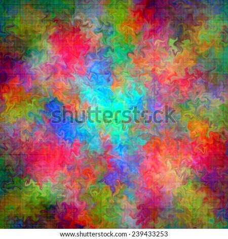 Abstract rainbow color paint splash art grunge background on canvas
