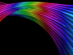 Abstract rainbow colored digital fractal art illustration, space sci-fi string effect
