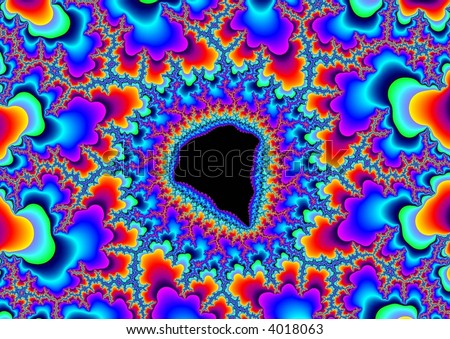 Abstract Rainbow Colored Fractal Pattern