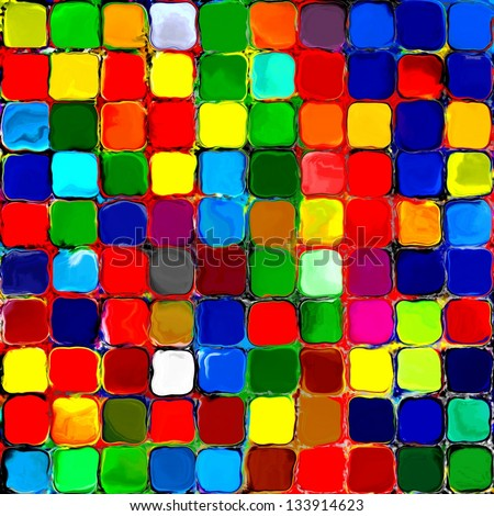 Stock Photo Abstract rainbow colorful tiles mosaic painting geometric palette pattern background 3