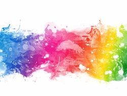 Abstract rainbow colour splash on white background
