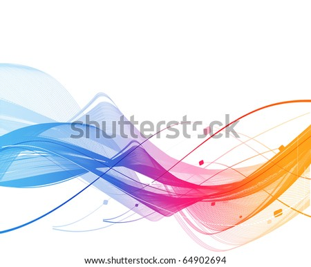 abstract rainbow wave line with sample text background.
