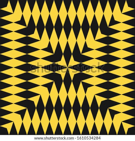 Abstract raster geometric checkered pattern. Seamless texture with diamond shapes, arrows. Optical illusion effect. Simple black and yellow background. Ethnic tribal style. Repeated tileable design
