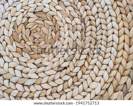 Abstract rattan texture. Background with round large weaving of straw. Textured bamboo background. Photo stock ©