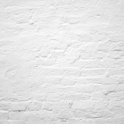 Abstract Rectangular White Interior Wall Texture. Whitewashed Old Brick Wall With Stained And Shabby Uneven Plaster. Painted Whiten Brickwall Background. Home House Room Indoor Square Surface.