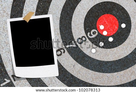 Abstract recycled paper craft , red target, photo note