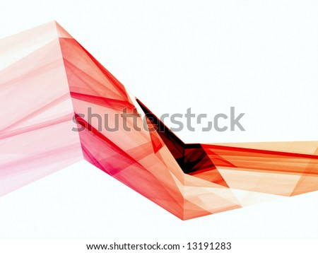 Abstract red and orange shapes on white