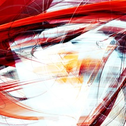 Abstract red and white motion composition. Modern bright futuristic dynamic background for flyer cover, poster, booklet. Fractal art for creative graphic design.