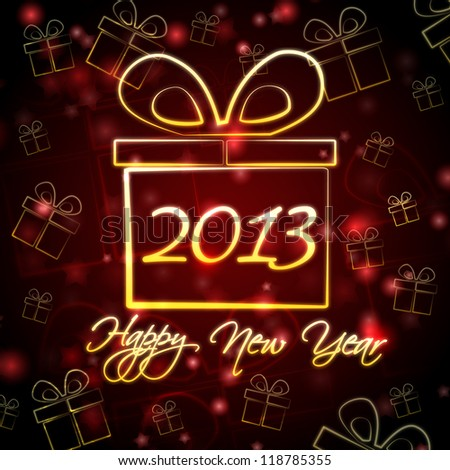 abstract red background card with golden presents boxes and text Happy New Year 2013