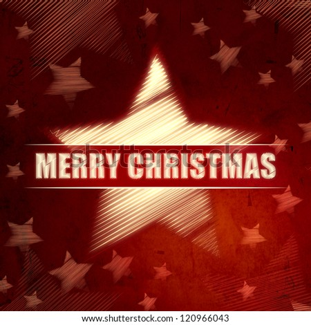 abstract red background with illustrated striped stars, text Merry Christmas, retro christmas card
