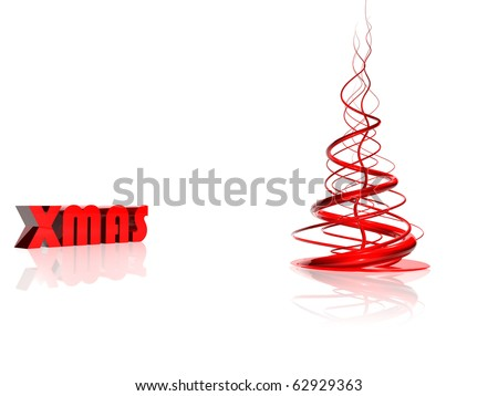 Abstract red christmas tree over white
